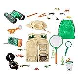 Sharplace Kit de aventura al aire libre para niños pequeños, conjunto de chaleco y sombrero de carga, disfraz de Safari de explorador del patio trasero y