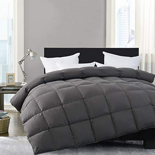 HOMBYS Super King Goose Down Comforter Goose Feather Oversize King Duvet Insert 116 x 108 Hypoallergenic 100% Cotton Cover Down Proof with Corner Tabs(Gray Super King-116' x 108')-Down Comforter