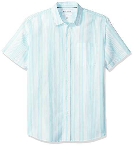 Amazon Essentials - Camisa a cuadros de lino con manga corta para hombre., Raya de aqua, US M (EU M)
