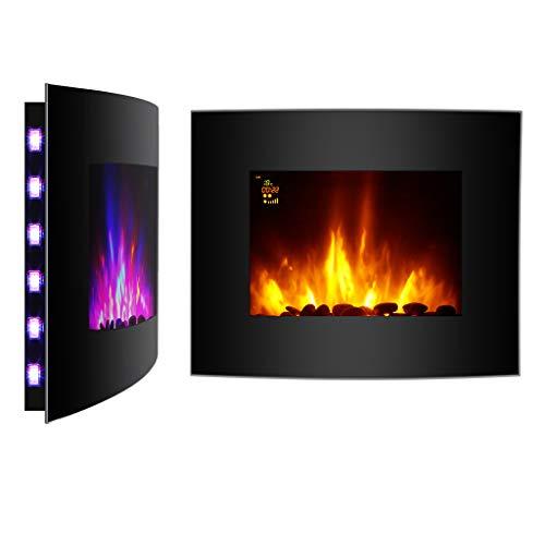 Finether 1800W Caminetto Elettrico Regolabile a Parete con 7 Colori Variabile per Fiamma 3D e Retroilluminazione a LED, Telecomando, Nero
