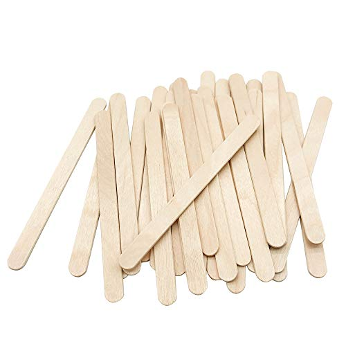 "200 Pcs Craft Sticks Ice Cream Sticks Natural Wood Popsicle Craft Sticks 4-1/2"" Length Treat Sticks Ice Pop Sticks for DIY Crafts"