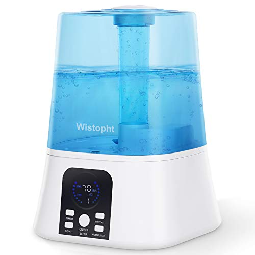 Wistopht Ultrasonic Humidifiers for Bedroom Home Large Room, 5.5L Cool Mist Air Ultrasonic Humidifier For Baby Plants Kids, Quiet Operation, LED Display with Humidistat, Waterless Auto Shut-off