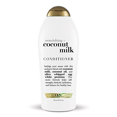 OGX Nourishing + Coconut Milk Moisturizing Conditioner for Strong & Healthy Hair, with Coconut Milk, Coconut Oil & Egg White Protein, Paraben-Free, Sulfate-Free Surfactants, 25.4 floz