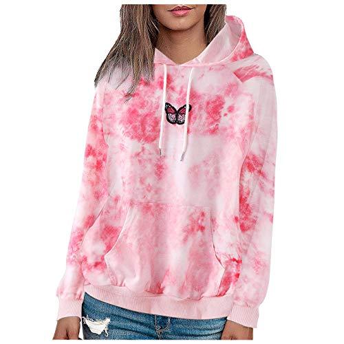 BaZhaHei Donna Felpa con Cappuccio Maglione con Cappuccio a Maniche Lunghe con stampa tie-dye Carino Felpa Tasca Grande Simpatico Pullover Sport Hoodie Sweatshirt Sweater