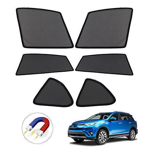 Powerty Side Sun Shade Shading Net UV Rays Protection Window Shade 6pcs/Set for Toyota RAV4 2013-2018