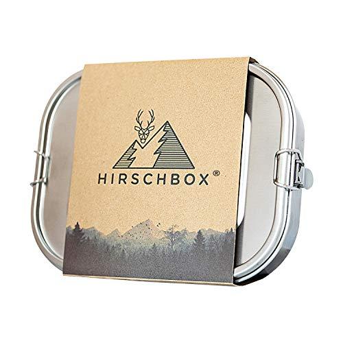 Hirschbox Brotdose Premium Edelstahl 18/8 Lunchbox für 1 Person (1400ml) | Metall Vesperdose mit Trennwand – Auslaufsicher, Umweltfreundlich & BPA-frei | Für Kinder & Erwachsene