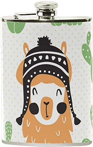 NA Netter Lama Kaktus Edelstahl-Hüfte-Flasche, Tasche Camping Wein-Topf, Geschenk für Männer oder Frauen, 8 Oz