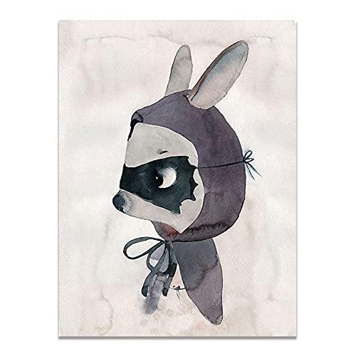 Moderno diseño de conejo nórdico, niña, ángel, dibujos animados, lienzo en spray, pintura, póster para niños, bebés, habitación infantil, pintura de pared, 50 cm x 30 cm