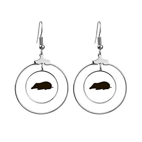 Zwarte Mole Dier Portrayal Oorbellen Dangle Hoop Sieraden Drop Cirkel