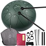 Steel Tongue Drum 13 Notes 12 inch, OYEL Percussion Instrument Steel Drum Kit Lotus Drum C key with Music Book and Carry Bag for Concert, Children's Music Enlightenment, Yoga Meditation(stone green)