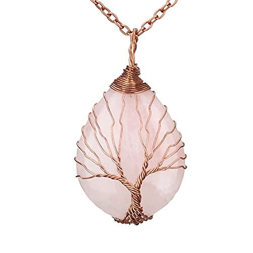 HJURTB Colgantes de Piedra de ópalo de Cuarzo Natural Hechos a Mano de Color Oro Rosa árbol de la Vida Hecho a Mano Envuelto Collar Colgante de Cristal en Forma de Gota