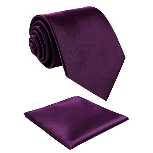Fortunatever Classical Men's Solid Necktie With Gift Box+Pocket Square (Plum Purple)