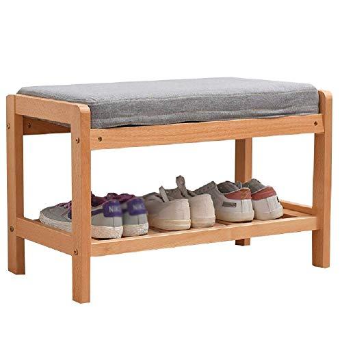 YANGYUAN Banco de madera para puerta delantera, entrada, hogar, 2 niveles, organizador de zapatos, funda de asiento lavable, color natural