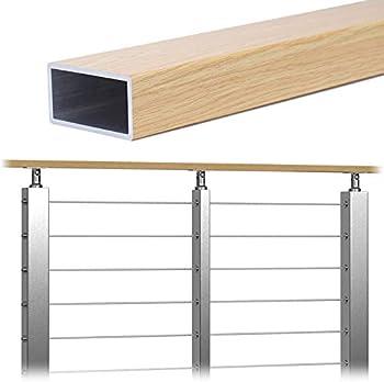 Muzata Handrail Aluminum Cable Railing Indoor staircase & Outdoor Deck stair 63x33mm Red Oak Wood Grain Fluoropolymer Weldless bracket hardware Fit Muzata PT1 Posts,6.6ft Rectangle HT10 RFA,HR0 HR3