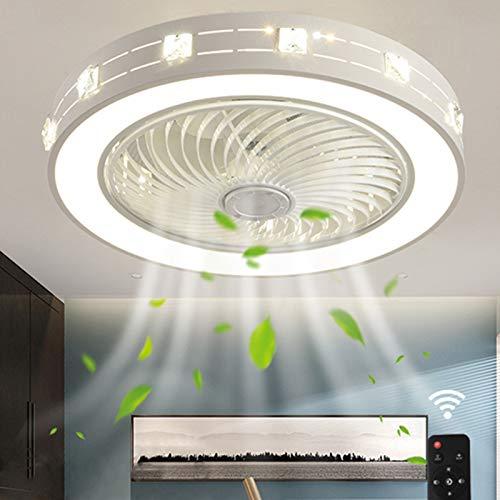 Ouuily Ventilador de Techo con iluminación y Mando a Distancia Creativa Lámpara de Techo Moderna Regulable LED, Silencioso Llámpara de Techo para Dormitorio, Salón, Comedor