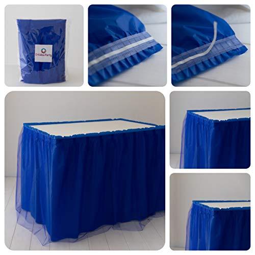 Orkidea Party-Tischrock mit Tüll, hergestellt in Italien, Maße: 74 x 420 cm (blau)