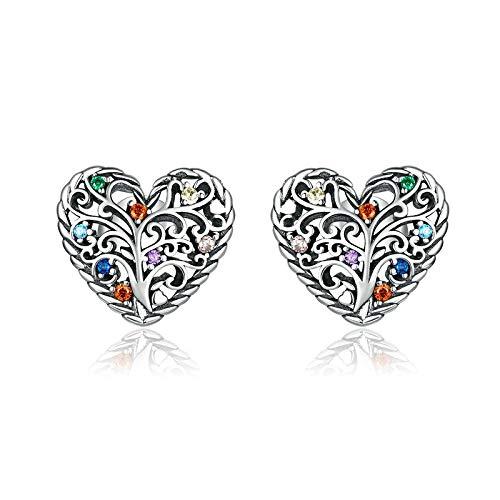 Tree Of Life Earrings 925 Sterling Silver Colorful Zircon Heart Stud Earrings For Women Birthday Best Gift Jewelry