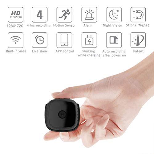 B&H-ERX Mini verborgen wifi-camera, verborgen, draagbaar, draadloos, HD 1080P, kleine tas, camcorder nounou cam met bewegingsdetectie, nachtzicht (upgrade)