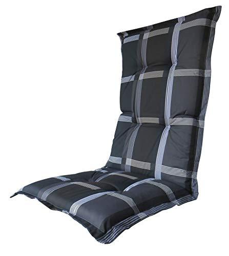 8 cm Luxus Hochlehner Auflage B 255 grau schwarz kariert