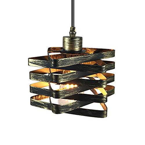YHQSYKS Lámpara Colgante LED Creativa para Dormitorio De Cabecera para Sala De Estar, Retro Industrial, Viento, Balcón, Escalera, Candelabro De Jaula De Hierro Forjado