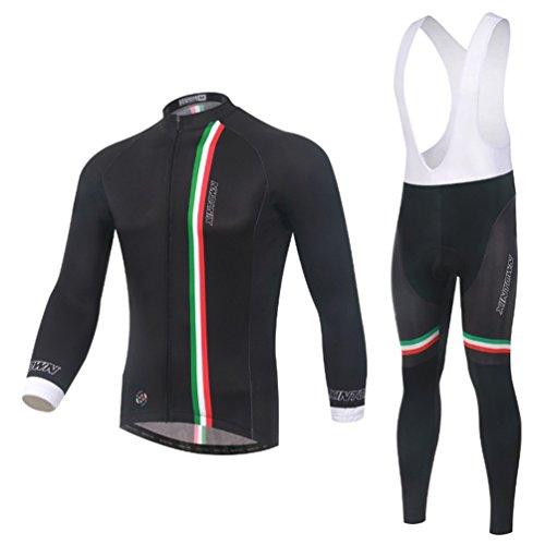 Baymate Maillot de Cyclisme Manches Longues + 3D Rembourré Respirant Pantalon de Cyclisme pour Homme