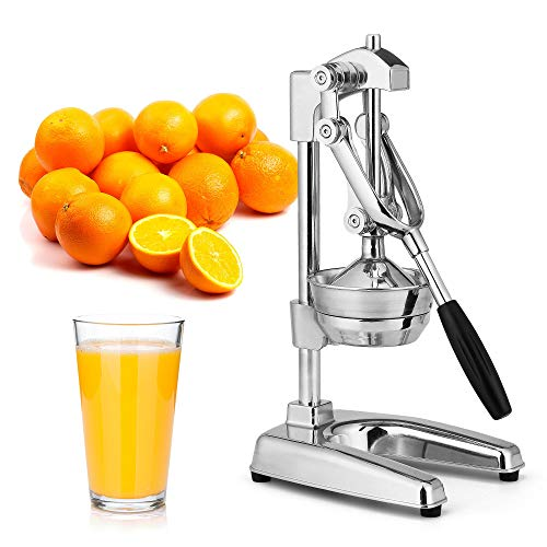 Zulay Kitchen Professional Citrus Juicer - Chrome Finish Manual Citrus Press and Orange Squeezer - Metal Lemon Squeezer - Extra Tall Heavy Duty Manual Orange Juicer and Lime Squeezer Press Stand