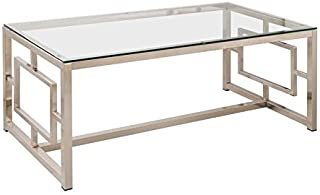 Coaster Home Furnishings Cairns Coffee Table with Glass Top and Geometric Motif Nickel and Clear