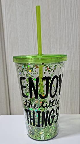 Vaso de acrilico con tapa enrroscable y paja reutilizable. libre de BPA doble pared con purpurina para bebidas frias verde
