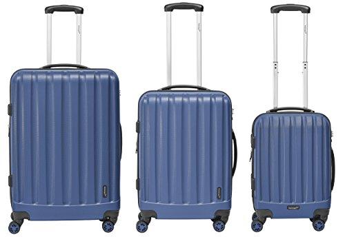 Packenger Kofferset - Velvet - 3-teilig (M, L & XL), Atlantic Blau, 4 Rollen, Koffer mit TSA- Schloss und Erweiterungsfach, Hartschalenkoffer (ABS)