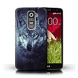 Handy Hülle kompatibel mit LG G2 Mini/D620 Wildes Tier Raubtier Wolf Blaue Augen Fantasie Transparent Klar Ultra Dünne Handyhülle Hülle Cover