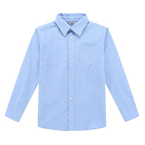Bienzoe Jungen Schuluniform Lange Ärmel Knopf Unten Oxford Hemd blau Größe 7