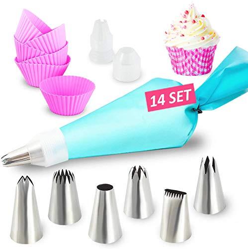 Set Per Decorazione Torte – Sac a Poche in Silicone con 6 Beccucci Grandi in Acciaio Inox + Stampi per Cupcake - Set per la Decorazione di Crostate e Cupcake