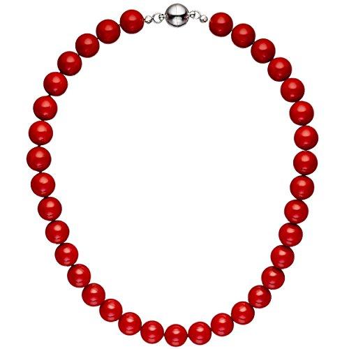JOBO Halskette Kette Muschelkern Perlen rot 45 cm Perlenkette