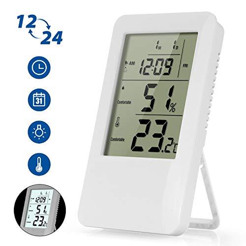 iKALULA Digitales Thermometer Hygrometer, Digital Thermo-Hygrometer Innen mit Hintergrundbeleuchtung und Wecker Temperatur Luftfeuchtigkeit zur Raumklimakontrolle für Babyraum, Wohnzimmer,Büro - Weiß