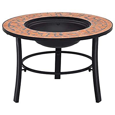 vidaXl Mosaic Fire Pit Firepit Garden Table Patio Stove Chimenea Bowl Outdoor Heater Burner BBQ Barbecue Terracotta 68cm Ceramic Tile from vidaXL