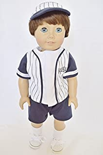Blue Baseball Shorts Set Compatible with American Girl Dolls- 18 Inch Boy Doll Clothes