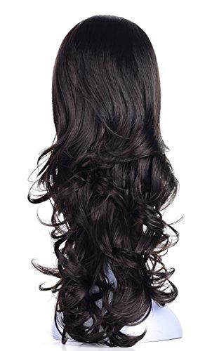 "OneDor 23"" Curly Hair Women Ladies 3/4 Half Wig Premium Japanese Synthetic Kanekalon fibers Wigs with Secured Mesh Head Cap (R2)"
