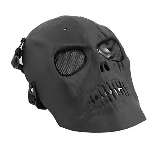 Máscara de esqueleto de calavera para exteriores, máscara de airsoft, paintball, pistola Bb, protección integral para la cara, cascos de tiro con escudo para los ojos