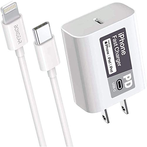 Boxgear iPhone 12 Pro Fast Charger (Apple MFI Certificate) for iPhone 11, 11 Pro, 11 Pro Max - Boxgear 20W PD Power Adapter with USB-C to Lightning Cable for iPhone 12, 12 Pro, 12 Pro Max (3.3 FEET)