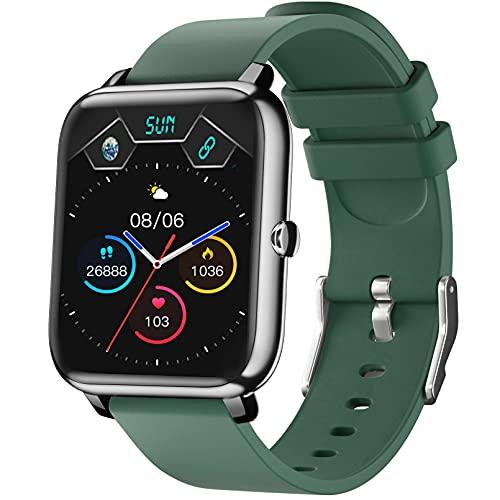 Smartwatch IDEALROYAL Orologio Intelligente Fitness Tracker Impermeabile Cardiofrequenzimetro, Monitoraggio Sonno, Orologio Uomo Donna Bluetooth Controllo della Fotocamera Musicale Android iOS (Verde)