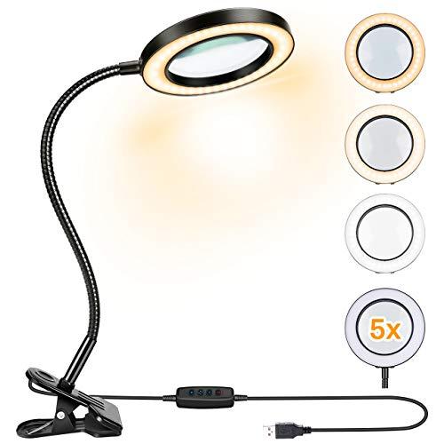 Powcan 5-fache Lupe mit Licht und Stand - faltbares Design mit Dimmbar LED Lupenlampe - Tischlupe mit Led Beleuchtung für handwerkliche Arbeiten,Lesen,Arbeit,Nähen,Hobbys,Sehschwäche