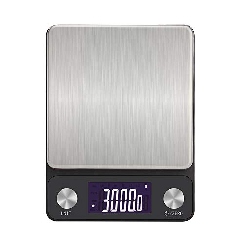 NEXT-SHINE Digital Rechargeable Kitchen Scale 3kg x 0.1g Multifunction Red Weighing Plate Scale with LCD Back-lit Display and Large Tray for Cooking Baking Postal Parcel