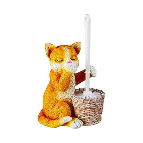 Unbekannt TRI WC-Bürsten-Garnitur, Toilettenbürste, Katzenmotiv, Toilettendeko, Bürstenhalter, Klobürste, Kunststoff, Kunststein, 22,5 x 15 x 34 cm