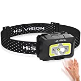 HISVISION Rechargeable Headlamp, Ultra Bright LED Headlight Flashlight with Motion Sensor COB Lamp beads, 5 Light Modes IPX6 Waterproof Head Lamp For Running, Outdoor, Reading, Biking, Fishing
