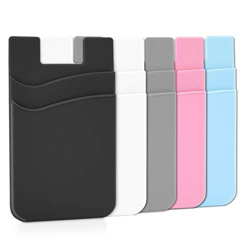 Senose - Custodia a portafoglio per cellulare, con supporto per carte di credito, compatibile con iPhone/Android/Samsung Galaxy, confezione da 5