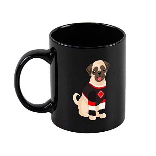 Schwarze Bistro-Becher für Kaffee oder Tee Mops in Hockey-Jersey, 325 ml, schwarz, große klassische Tasse für Kaffee oder Tee Großer Griff und robuste Konstruktion