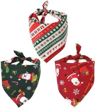 Dog Bandana Puppy Christmas Scarf, 3PCs for Small Medium and Large Dogs by HUMOMO, pet Accessory Printing cat Kerchief for Travel Triangle Bibs for Christmas (Christmas, 3 Pack)