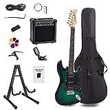 Display4top Kit de guitarra eléctrica Amplificador de 20 vatios, soporte de guitarra, bolsa, púa de guitarra, correa, cuerdas de repuesto, sintonizador, estuche y cable (Negro-Verde)