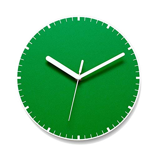 AMIGONG, Without Nails, Silent Wall Clock, Green Color, Interior Wall Clock, Stick Wall Clock, Design Handmade Wall Clock, Home/Office/Classroom/Living MinimalLine Green