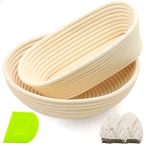 Banneton Bread Proofing Basket Set, 9.8'' Oval & 10'' Round Banneton Basket for Raising Sourdough Shaping Bowl Include Linen Liner, Plastic Scraper, 100% Natural Rattan Cane Ideal Bread Making Gift